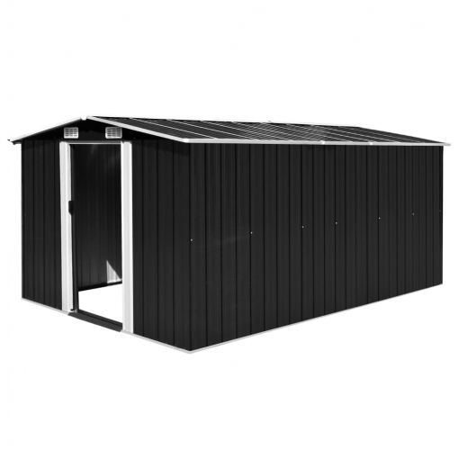Vidaxl Caseta De Jardín De Metal Antracita 257x398x178 Cm