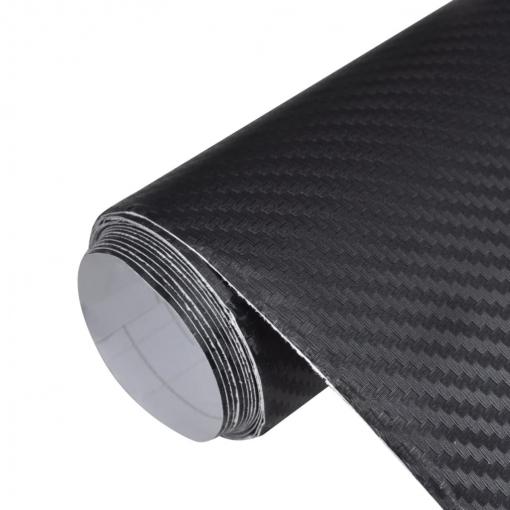 Película De Coche Vinilo De Fibra Carbon 3d Negro 152 X 500cm