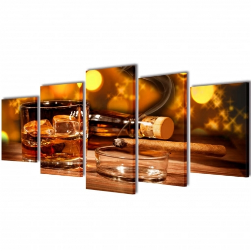 Set Decorativo De Lienzos Para Pared Whisky Y Puro 100 X 50 Cm