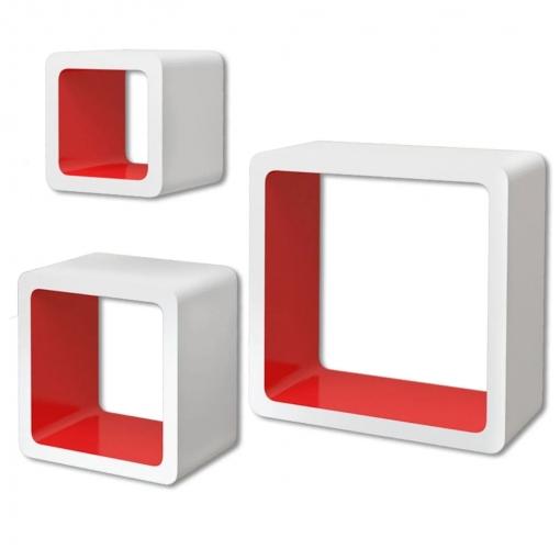 3 Cubos Estantes Exhibidores Flotantes De Tablero Dm Blanco-rojo