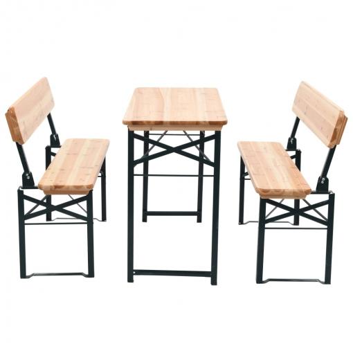 Vidaxl mesa de jard n plegable con 2 bancos madera de for Bancos de jardin carrefour