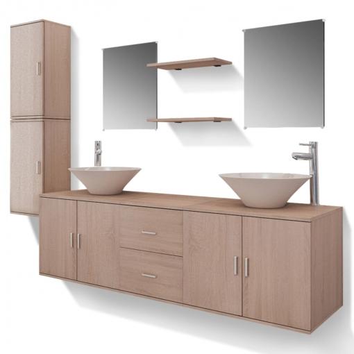 57e368f804fb Vidaxl Set Muebles Para Baño Con Lavabo Y Grifo 11 Uds Beis con Ofertas en  Carrefour   Las mejores ofertas de Carrefour
