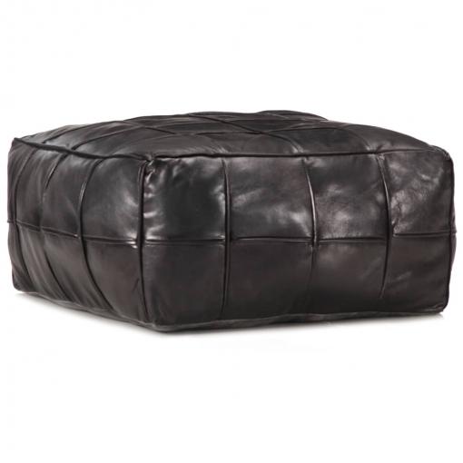 Vidaxl Puf Negro 60x60x30 Cm Cuero Auténtico De Cabra