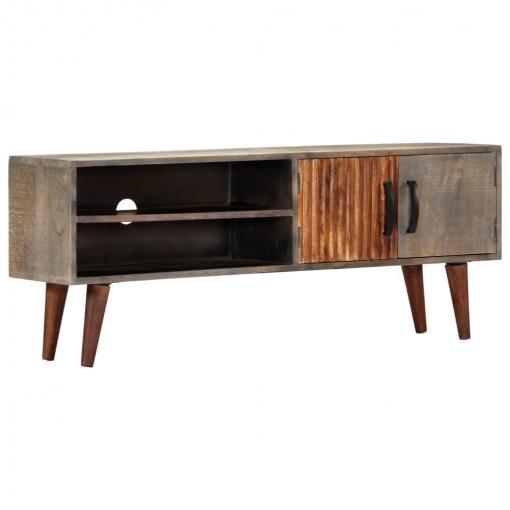 Vidaxl Mueble Para Tv Madera Maciza De Mango Rugosa Gris 115x30x46 Cm
