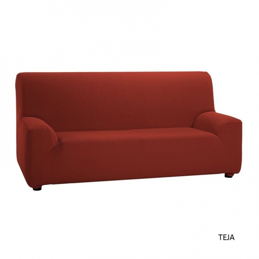 Texturas Vip- Funda De Sofá Elástica Low Cost ( Varios Tamaños Disponibles ) - Color: Teja - Opción Sofá: 3 Plazas