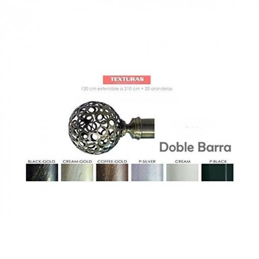 Texturas Basic Home Barra Forja Universal Extensible Doble Bola - Color: Black-gold - Largo Barra: 120-210