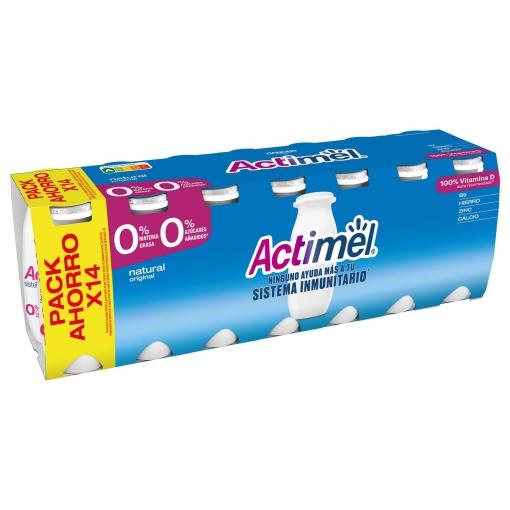 Yogur L.Casei desnatado líquido natural Danone Actimel pack de 14 unidades de 100 g.