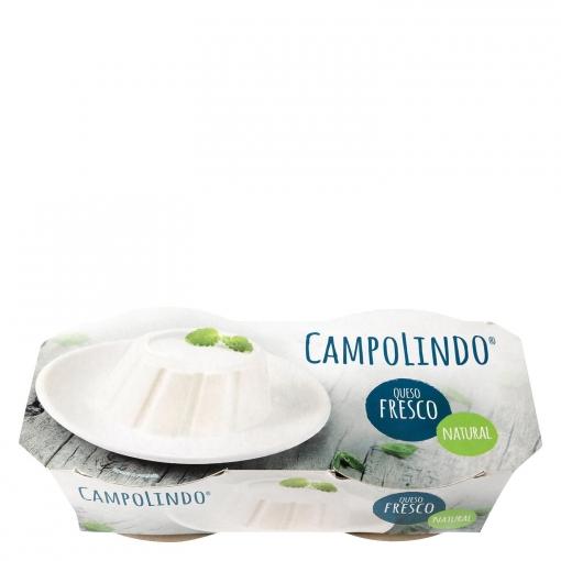 Queso fresco natural Campolindo pack de 2 unidades de 250 g.