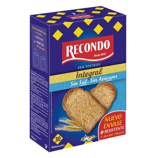 Pan Tostado Integral Sin Sal Y Sin Azúcar Añadidos Recondo 270 G Carrefour Supermercado Compra Online