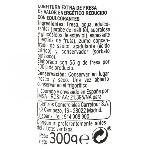 Confitura de fresa categoría extra light Carrefour 300 g.
