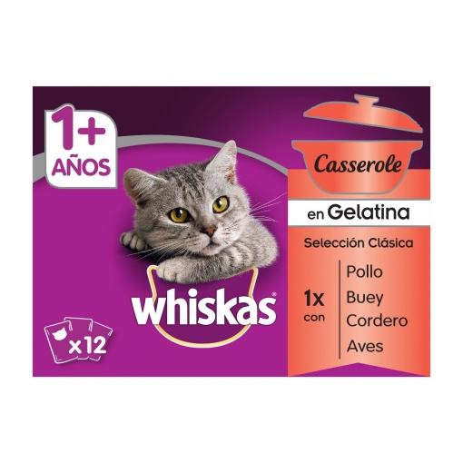 Whiskas Multipack de 12 Bolsitas para Gatos Adultos Casserole de Clásicos