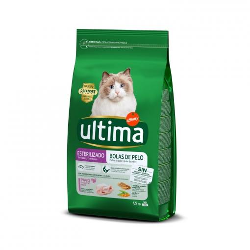 Ultima Pienso para Gato Esterilizado control bolas de pelo Sabor Pavo 1,5kg.