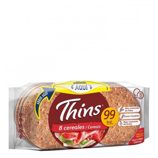 Pan sándwich Thins con 8 Cereales Bimbo Silueta 310 g.