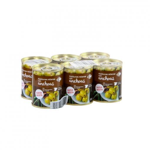 Aceitunas verdes rellenas de anchoa nueva receta Carrefour pack de 6 latas de 50 g