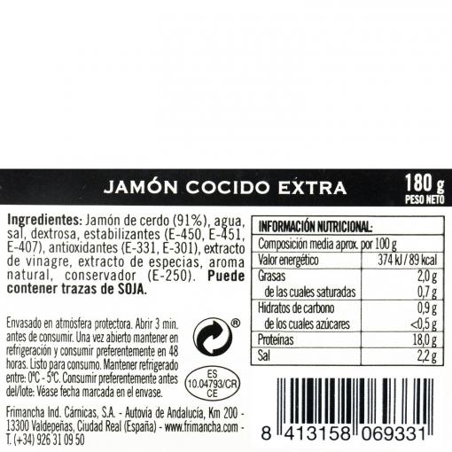 Jamón cocido extra en lonchas sin gluten y sin lactosa 180 g