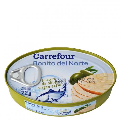 Bonito del norte en aceite de oliva virgen extra Carrefour 72 g.