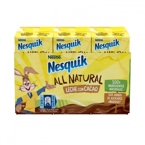 Batido de cacao all natural 50% menos de azúcares añadidos Nesquik sin gluten pack de 3 briks de 180 ml.