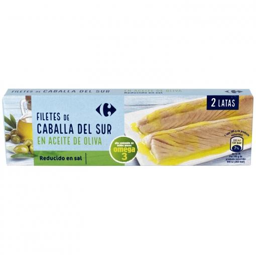 Filetes de caballa del sur en aceite de oliva bajo en sal Carrefour pack de 2 latas de 65 g.