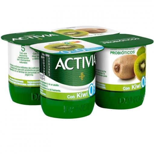Yogur bífidus desnatado con kiwi Danone Activia pack de 4 unidades de 120 g.