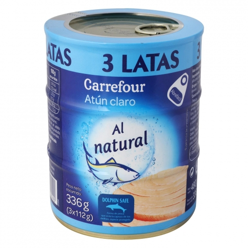 Atún claro al natural Carrefour pack de 3 latas de 104 g.