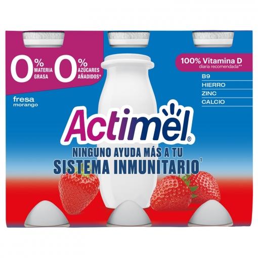 Yogur L.Casei desnatado líquido con fresa Danone Actimel pack de 6 unidades de 100 g.