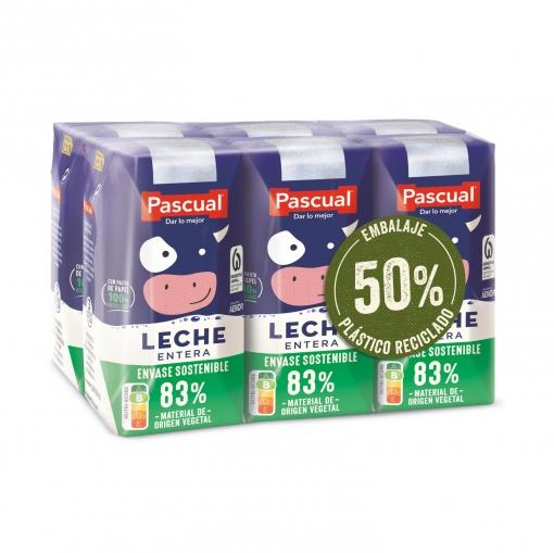 Leche entera Pascual pack de 6 briks de 200 ml.