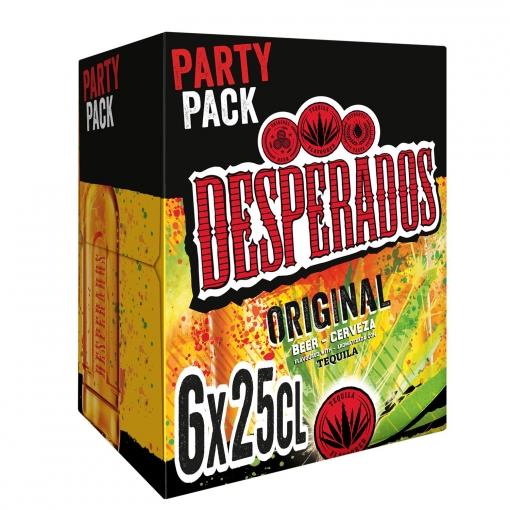 Cerveza Desperados con tequila pack de 6 botellas de 25 cl.