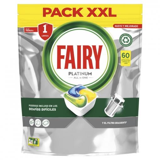 Lavavajillas máquina platinum Todo en 1 en cápsulas Fairy 63 ud.