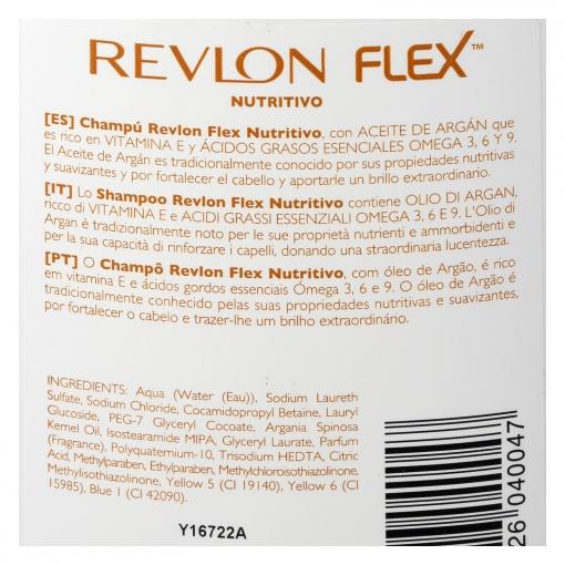 Champú nutritivo con aceite de argán para cabello seco Flex 650 ml.