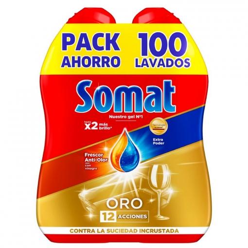 Gel Para Lavavajillas Oro Frescor Anti Olor Con Vinagre Somat Pack De 2 Unidades De 50 Lavados Carrefour Supermercado Compra Online