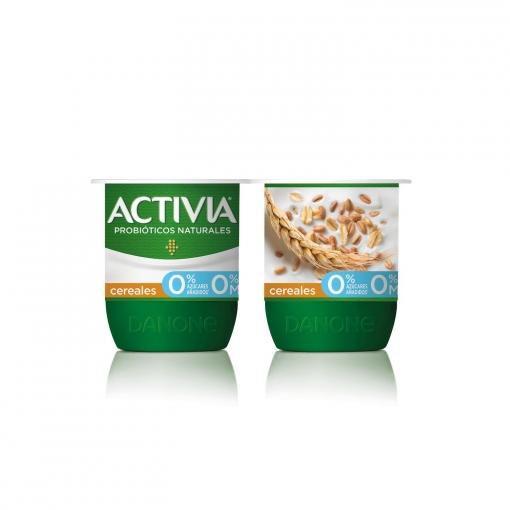 Yogur bífidus desnatado de fibras con cereales Activia pack de 4 unidades de 120 g.