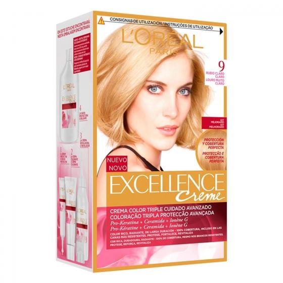Tinte creme nº 9 Rubio Claro Claro L'Oréal Excellence 1 ud.