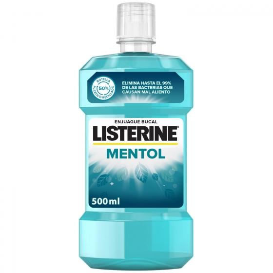 Enjuague bucal antiséptico Mentol Listerine 500 ml.