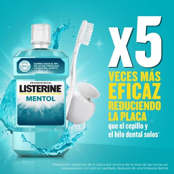 Enjuague bucal antiséptico Mentol Listerine 500 ml. - 1