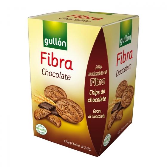 Galletas con chocolate Diet Fibra Gullón pack 2 unidades de 225 g.
