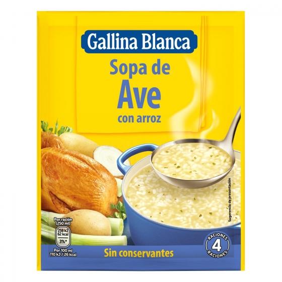 Sopa de ave con arroz Gallina Blanca 80 g.