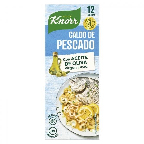 Caldo de pescado con un toque de aceite de oliva virgen extra Knorr sin gluten 12 pastillas