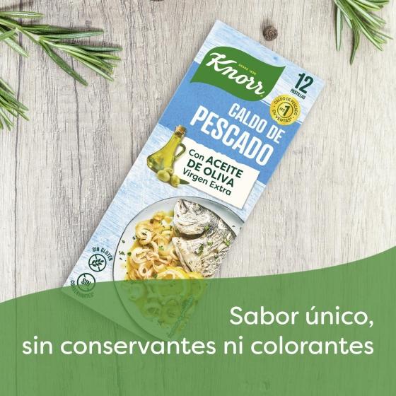 Caldo de pescado con un toque de aceite de oliva virgen extra Knorr sin gluten 12 pastillas - 1