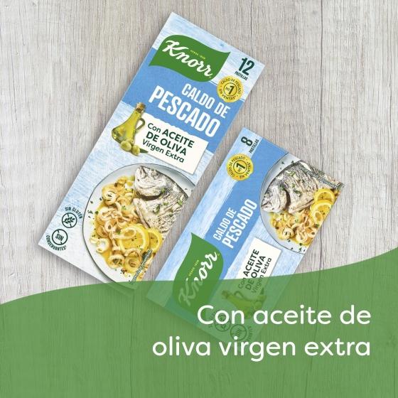 Caldo de pescado con un toque de aceite de oliva virgen extra Knorr sin gluten 12 pastillas - 3