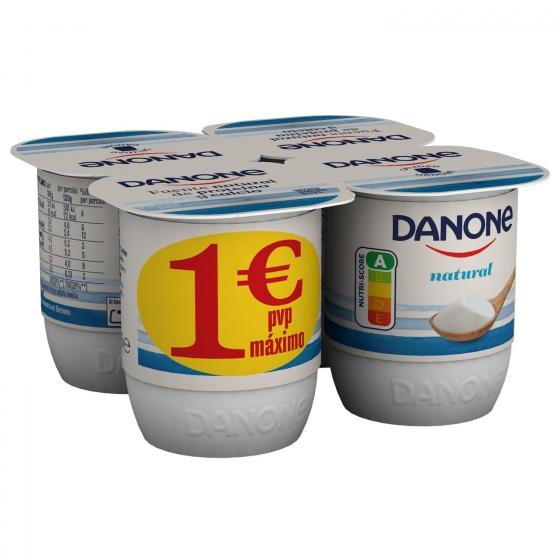 Yogur natural Danone pack de 4 unidades de 125 g.