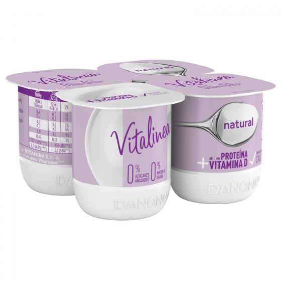 Yogur desnatado natural sin azúcar añadido Danone Vitalinea pack de 4 unidades de 120 g.