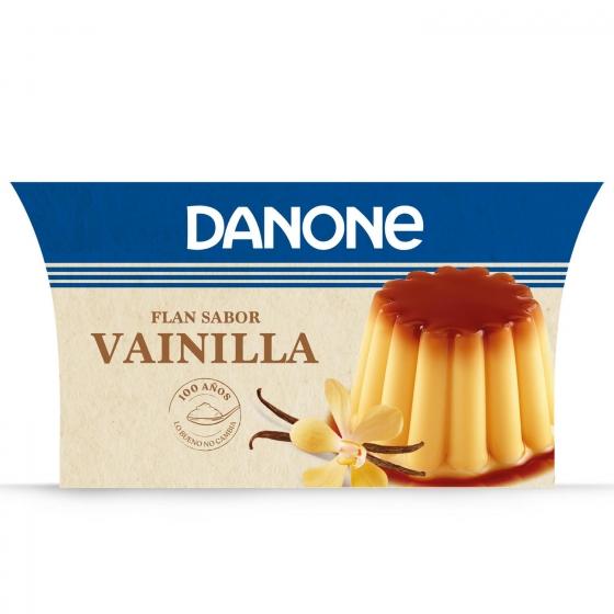 Flan de vainilla Danone sin gluten pack de 4 unidades de 100 g.