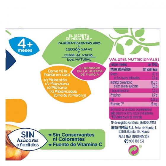 Tarrito de frutas variadas desde 4 meses Hero Baby 235 g. - 4