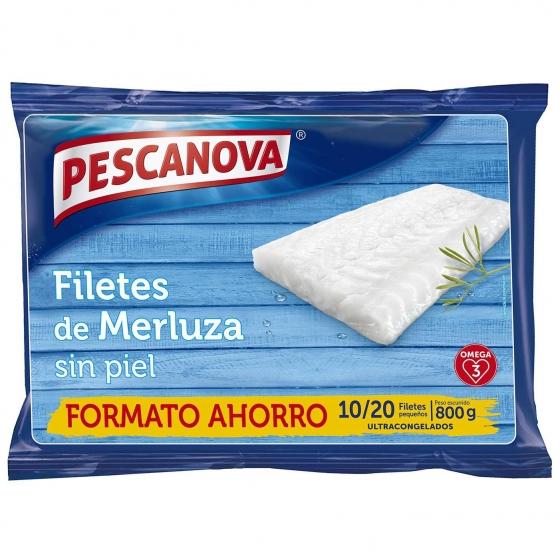 Filetes de merluza sin piel ultracongelados Pescanova 800 g.