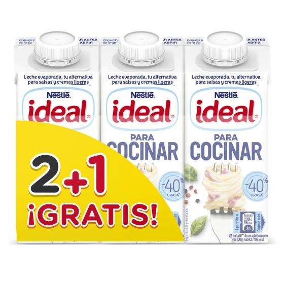 Leche evaporada -40% grasa Ideal pack de 2 briks de 210 g.