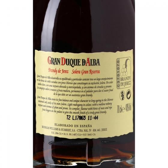 Brandy Gran Duque D Alba solera Gran Reserva 70 cl. - 3