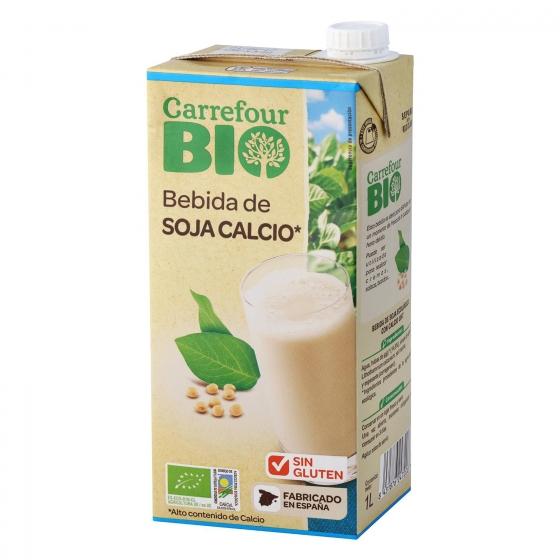 Bebida de soja con calcio ecológica Carrefour Bio brik 1 l.