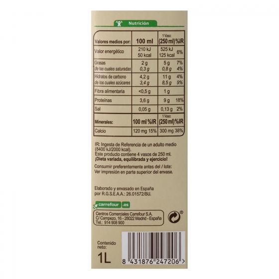 Bebida de soja con calcio ecológica Carrefour Bio brik 1 l. - 1