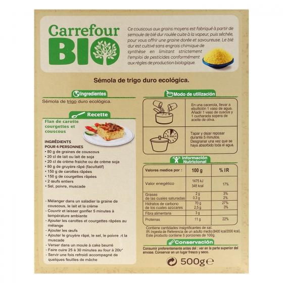 Cuscús grano mediano ecológico Carrefour Bio 500 g. - 1