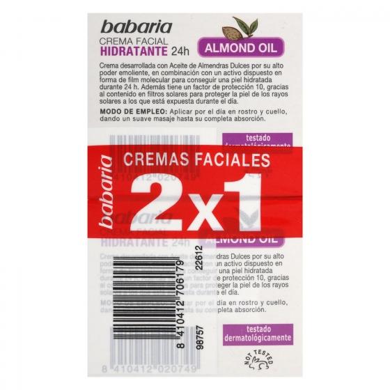 Crema facial hidratante con aceite de almendras dulces Babaria pack de 2 unidades de 50 ml. - 1
